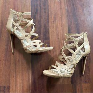 Jessica Simpson strap cream tan sandal heel 9.5